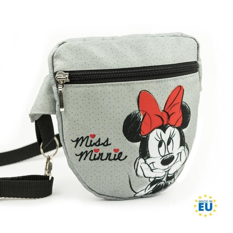 Příruční ledvinka / kapsička s Myškou Minnie / Minnie Mouse šedá 16 x 18 cm