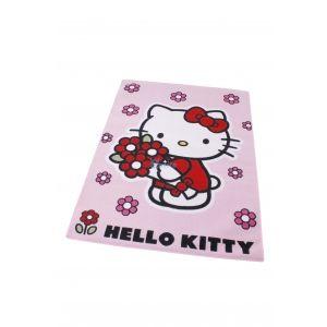 Koberec do dívčího pokoje Hello Kitty / Květiny 95 x 133 cm