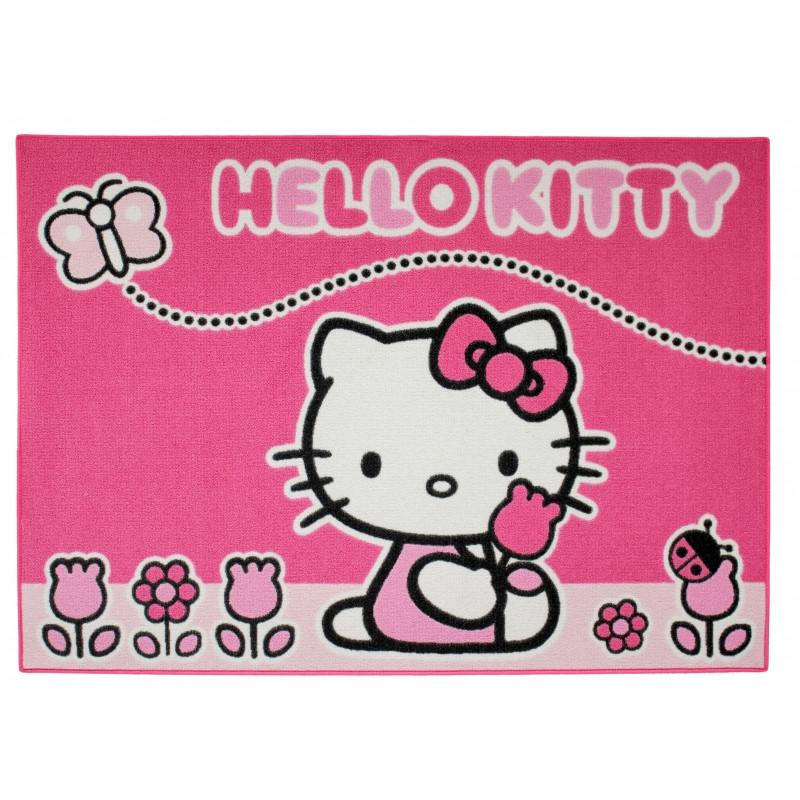 Koberec do dívčího pokoje Hello Kitty / Motýlek 95 x 133 cm