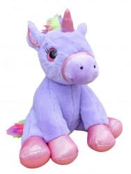 Plyšová sedící figurka Unicorn / Jednorožec violet / vecizfilmu
