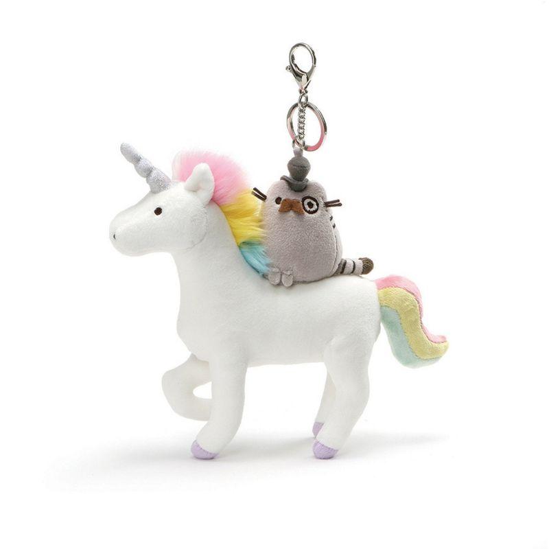 Plyšová hračka / přívěšek na klíče Jednorožec / Unicorn s kočičkou Pushen 23 cm