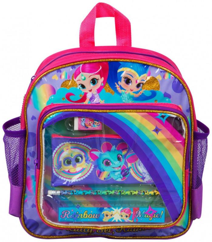 Dívčí batůžek s vybavením Shimmer and Shine / Třpyt a lesk penál / tužka / pravítko / guma 11 x 29 x 26 cm