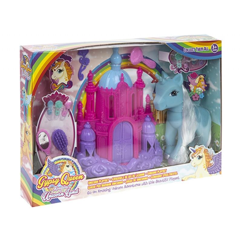Velká dívčí sada Jednorožec / Unicorn s plastovým hradem a hřebeny