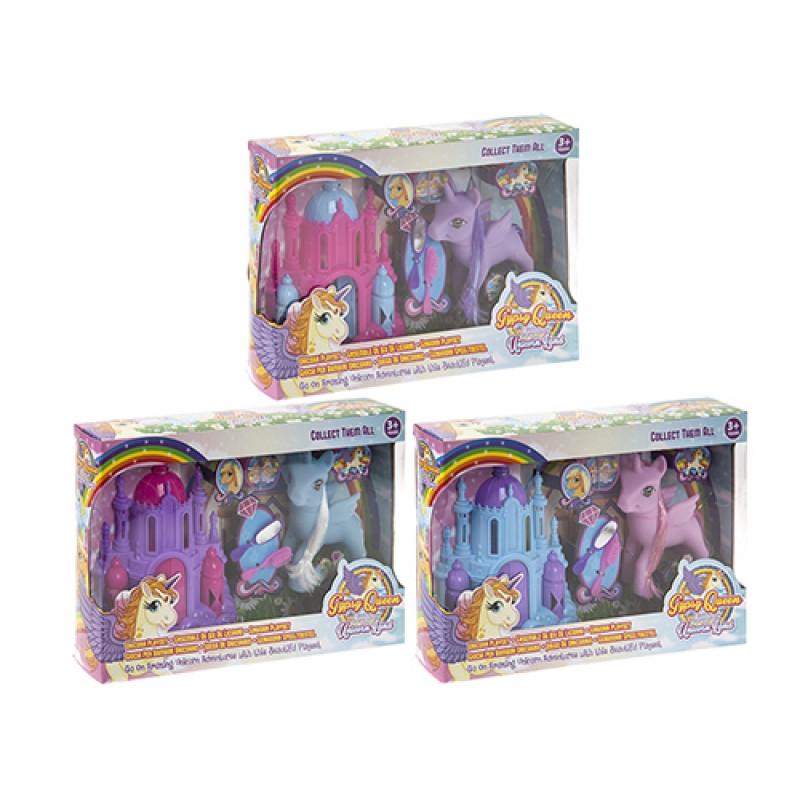 Malá dívčí sada Jednorožec / Unicorn s plastovým hradem a hřebeny