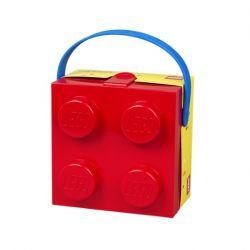 Lunch box / krabička na svačinu s úchytem ve tvaru kostičky Lego červená / žlutá