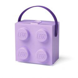 Lunch box / krabička na svačinu s úchytem ve tvaru kostičky Lego fialová