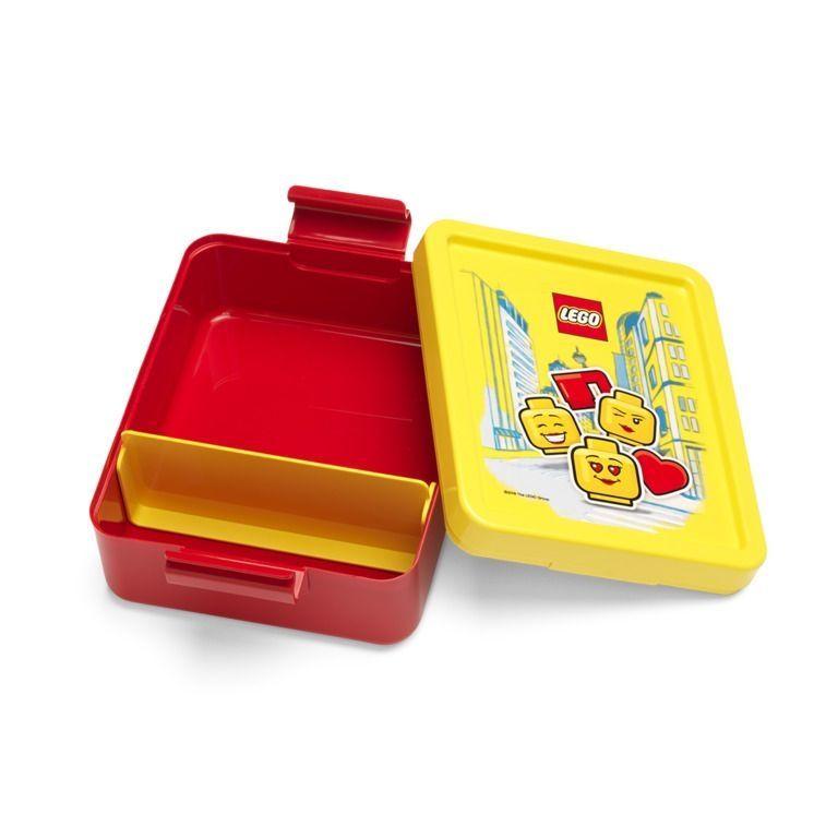 Plastová krabička na svačinu / lunch box Lego červeno / žlutá 17 x 14 x 7 cm