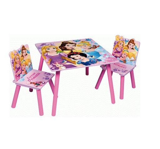 Dětský stůl + 2 Židle Princess / Princezny / Ariel / Popelka / Na vlásku / Sněhurka