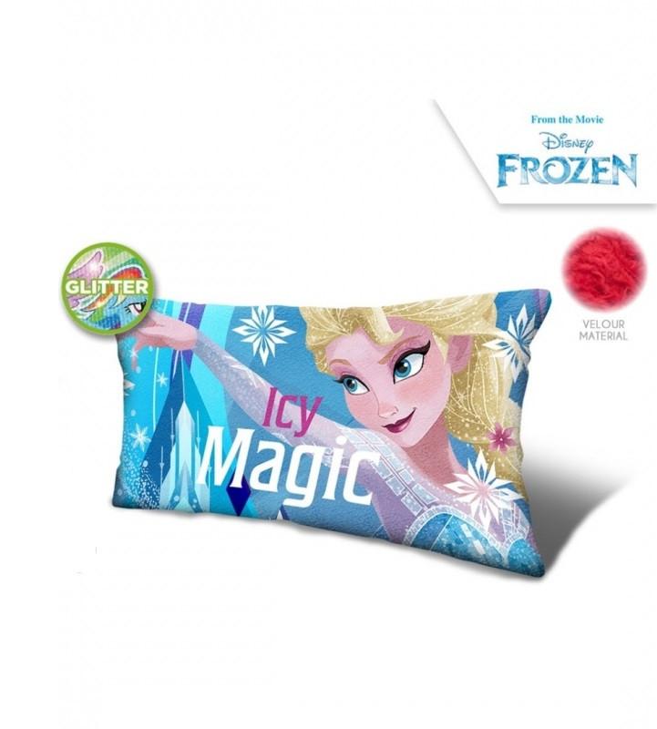 Velurový polštář s glitry Frozen / 70 x 35 x 12 cm