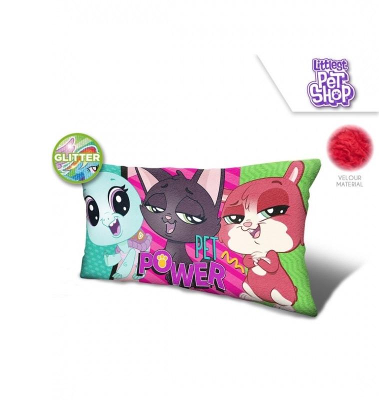 Velurový polštář s glitry Littlest Pet Shop / 70 x 35 x 12 cm