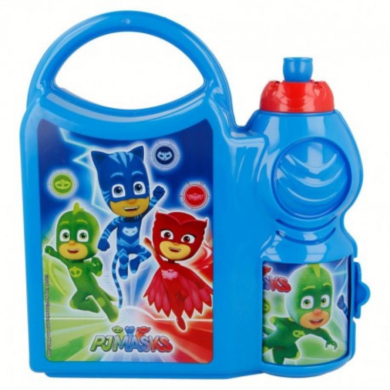 Svačinový set PJ Masks / Pyžamasky krabička s úchytem a láhev na pití 400 ml