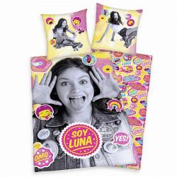 Dívčí povlečení Soy Luna grey / pink 140 x 200 cm a 70 x 90 cm / vecizfilmu