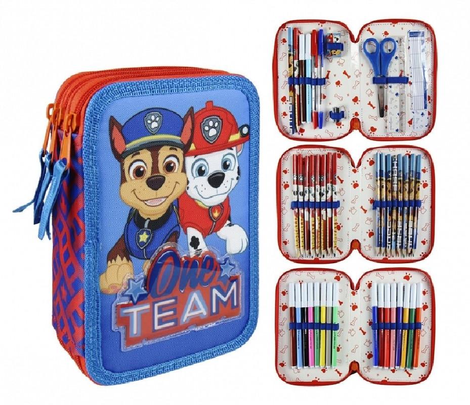 Dětský třípatrový penál s vybavením Tlapková Patrola / Paw Patrol Chase a Marshall