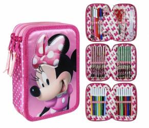 Dívčí třípatrový penál / pouzdro s vybavením Myška Minnie / Minnie Mouse růžový 13 x 20 x 7 cm / vecizfilmu