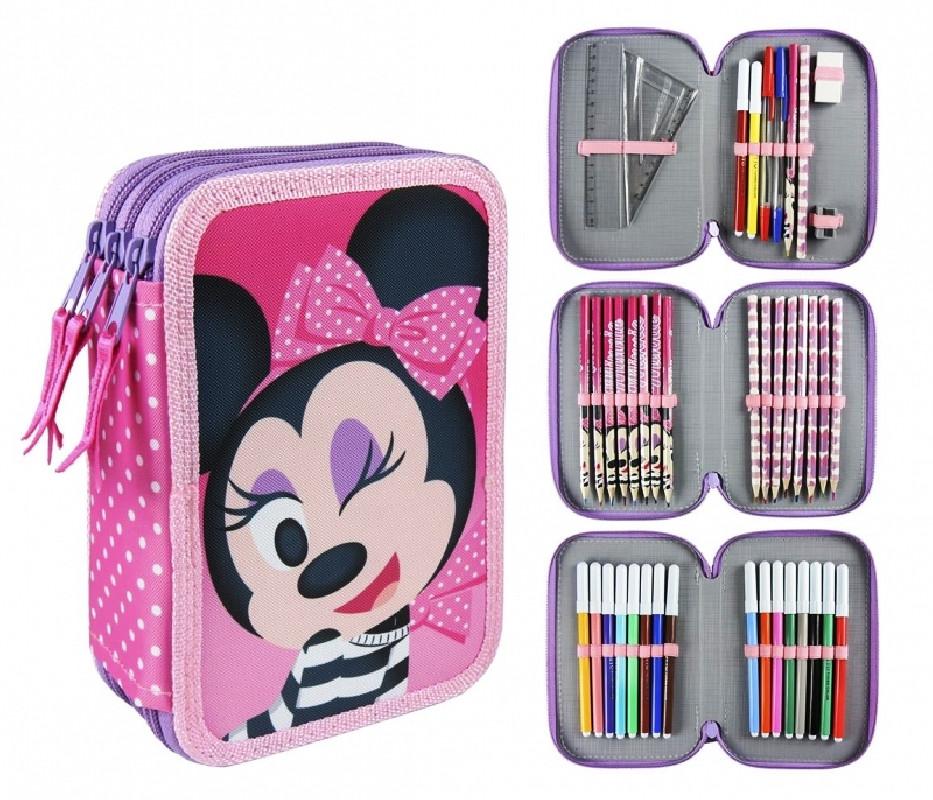 Dívčí třípatrový penál / pouzdro s vybavením Myška Minnie / Minnie Mouse Mašlička 13 x 20 x 7 cm
