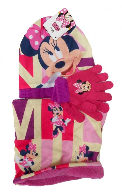 Dívčí podzimní / zimní sada oblečení Myška Minnie / Minnie Mouse čepice / nákrčník / rukavice