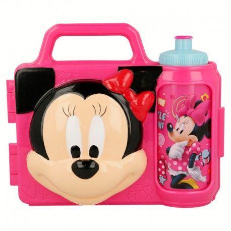 Dívčí 3D svačinová sada Myška Minnie / Minnie Mouse krabička a láhev