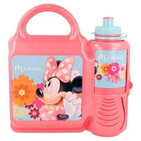 Dívčí svačinová sada Myška Minnie / Minnie Mouse krabička a láhev / růžová