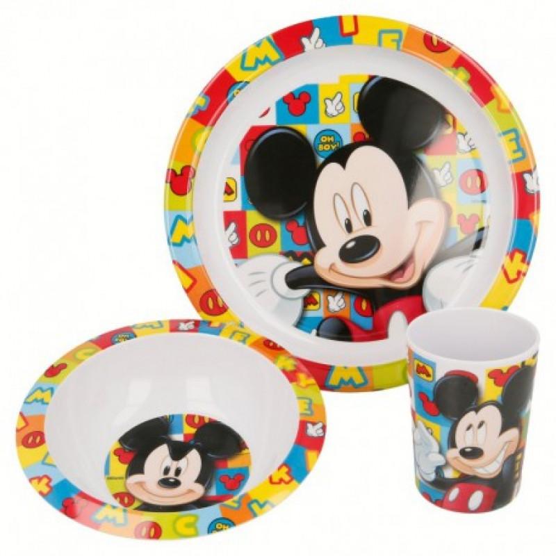 Jídelní sada plastového nádobí Mickey Mouse / 3 dílná