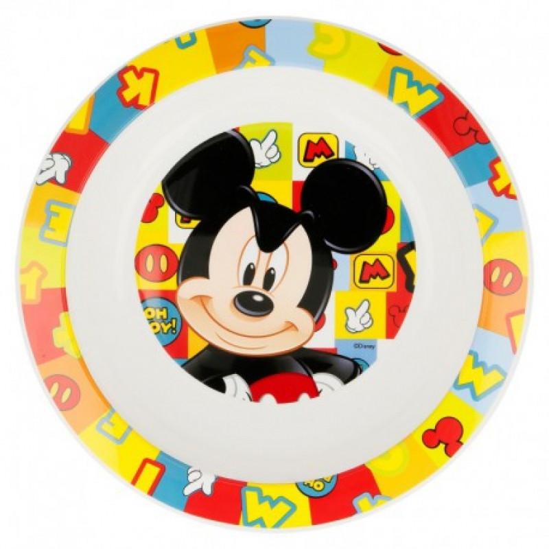 Plastový talíř hluboký Mickey Mouse / 20 cm