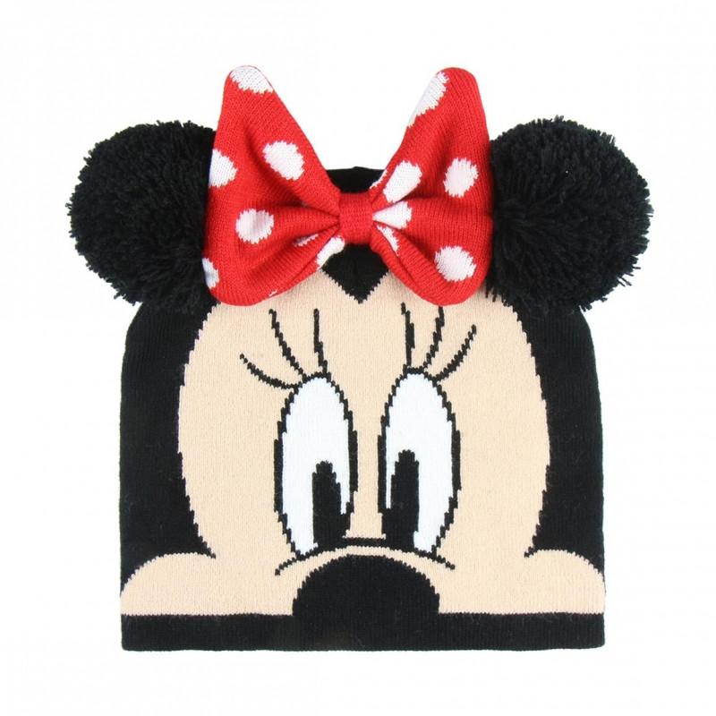 Podzimní / Zimní dívčí čepice Minnie Mouse 3D / 52-54 CM