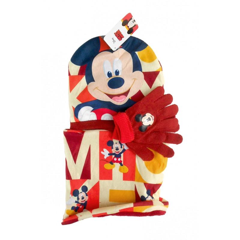 Podzimní / Zimní sada Mickey Mouse čepice, rukavice, nákrčník / univerzální