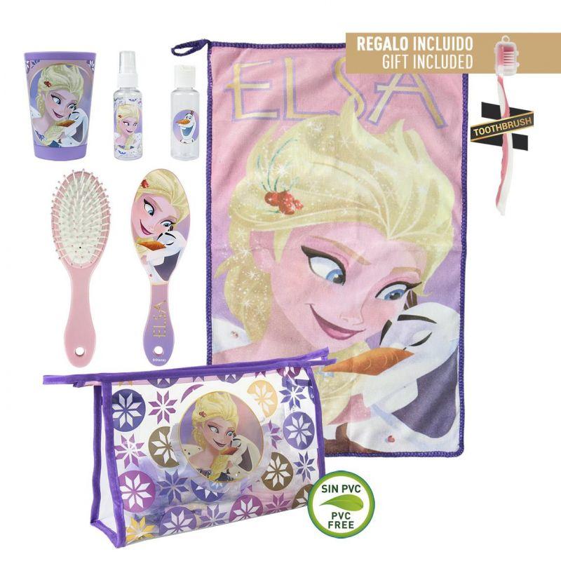 Dívčí kosmetická taštička s vybavením Frozen / Ledové Království ručník / kartáček na zuby / hřeben / kelímek / spray na vlasy