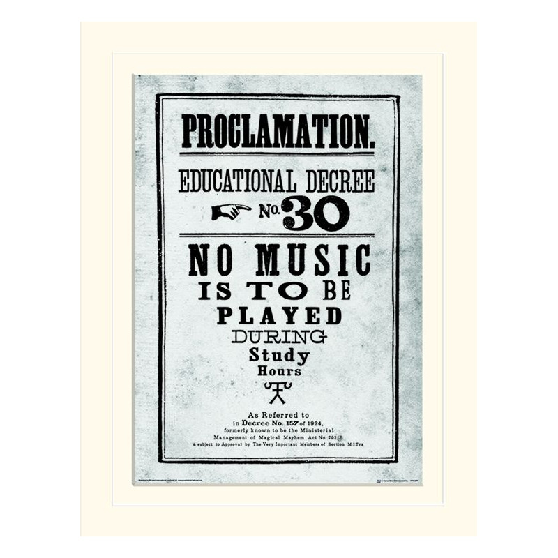 Harry Potter / Proclamation / Proklamace / Veřejné prohlášení v rámečku 30 x 40 cm