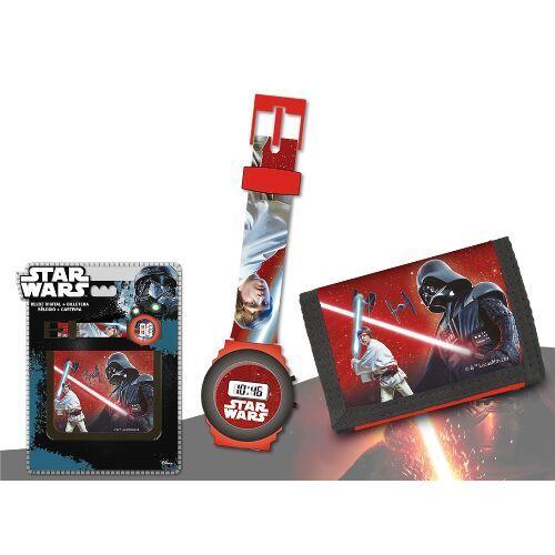 Sada Star Wars / Hvězdné války / Darth Vader / chlapecké digitální hodinky a peněženka