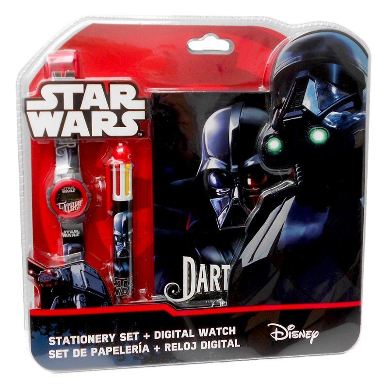 Sada Star Wars / Hvězdné války / Darth Vader / chlapecké digitální hodinky / vícebarevná propiska a notes