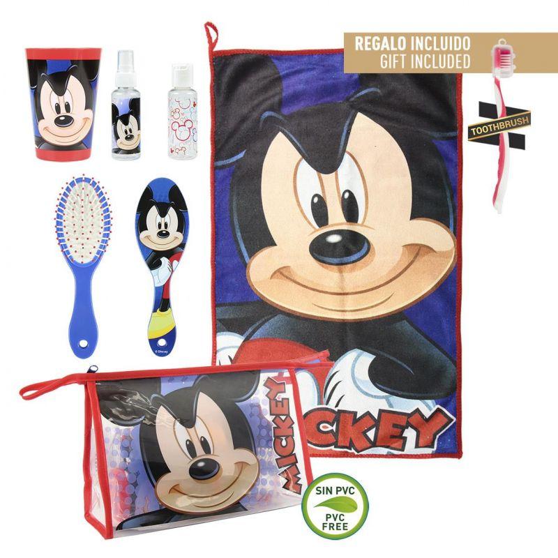 Chlapecká kosmetická taštička s vybavením Myšák Mickey / Mickey Mouse ručník / kartáček na zuby / hřeben / kelímek / spray