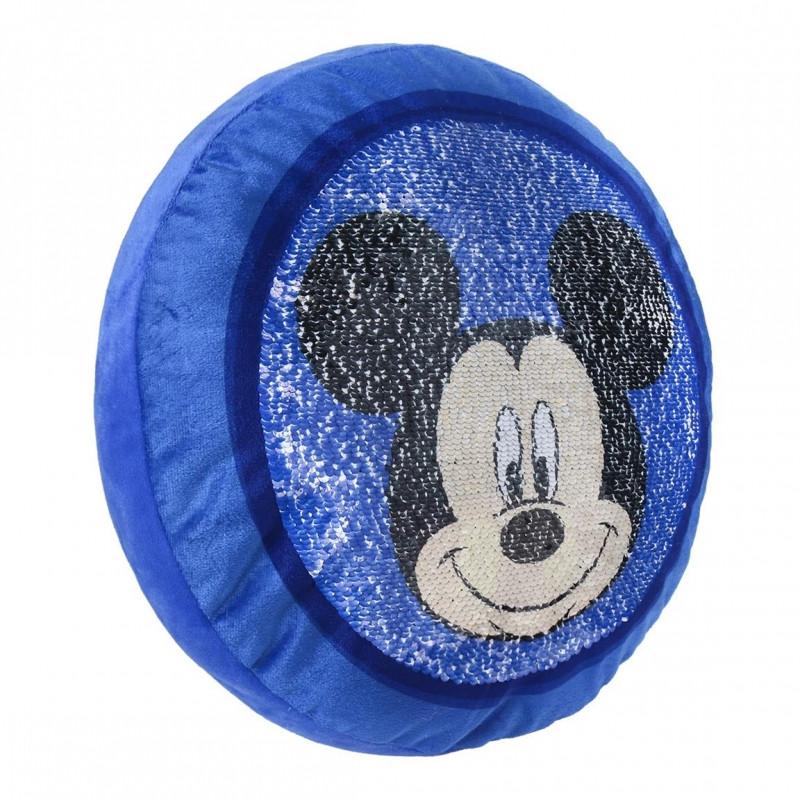 Kulatý plyšový polštář měnící obrázek Myšák Mickey / Mickey Mouse modrý
