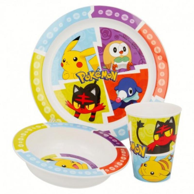 Keramická jídelní sada Pokémon / miska, talíř, pohárek