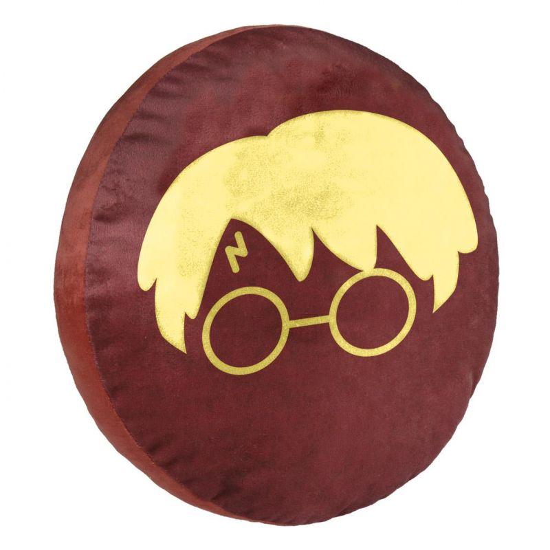 Dětský kulatý hebký polštář Harry Potter / brýle 35 cm