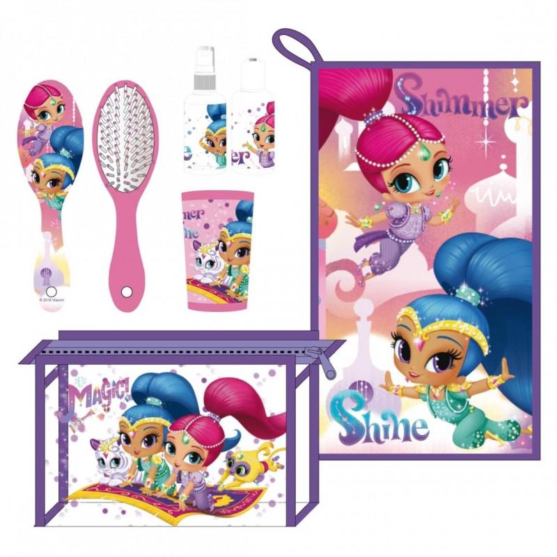 Dívčí kosmetická taštička s vybavením Shimmer and Shine / ručník na obličej / Hřeben / kartáček na zuby / kelímek / veci z filmu
