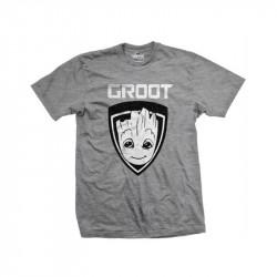 Pánské tričko s krátkým rukávem Strážci Galaxie / GUARDIANS OF THE GALAXY / GROOT SHIELD / ŠEDÉ/VELIKOST XL