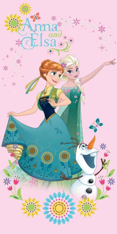 Dívčí růžová osuška Frozen / Ledové Království / Anna Elsa a Olaf / vecizfilmu