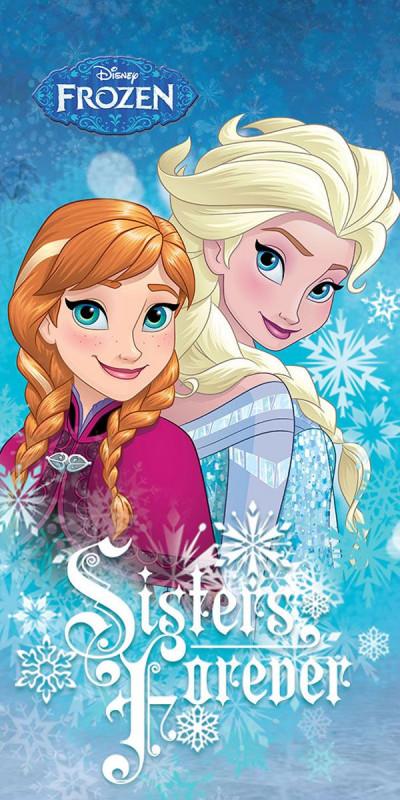 Dívčí modrá osuška Frozen / Ledové Království / Sisters Forever 70 x 140 cm