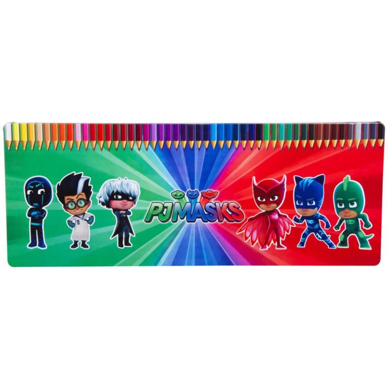 Pastelky v plechové krabičce PJ Masks / 50 kusů / 1 x 18 x 48 cm