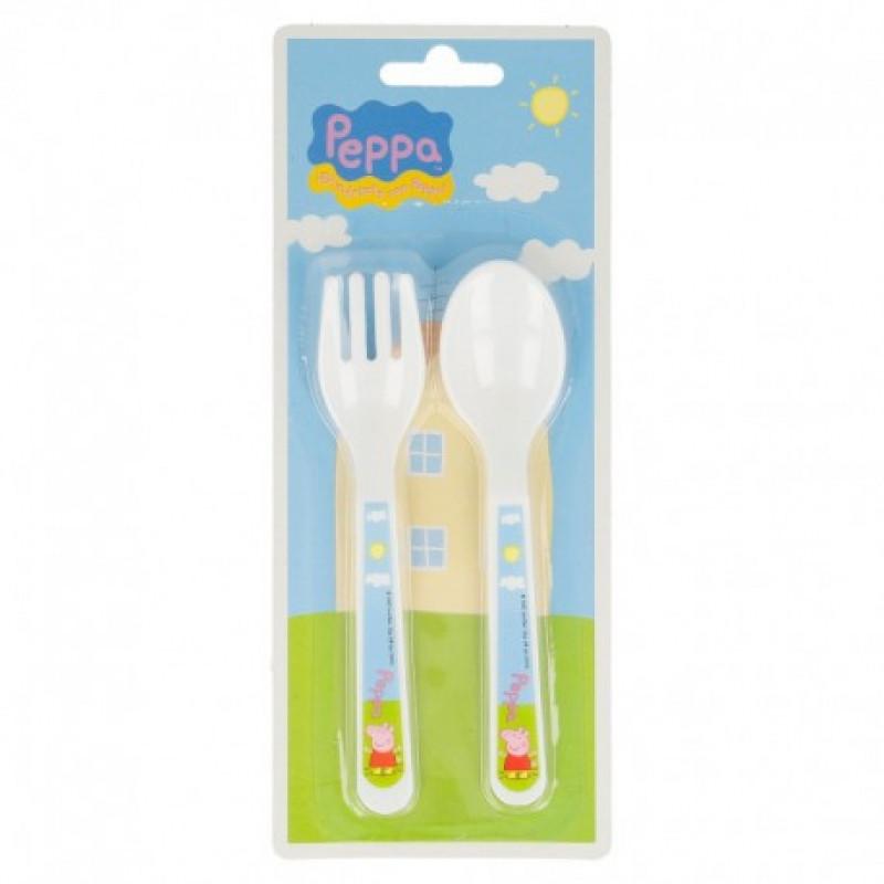 Plastový dětský příbor Peppa Pig / 2 kusy v balení vidlička, lžička
