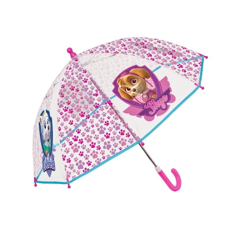 Dívčí průhledný manuální deštník Tlapková Patrola / Paw Patrol Everest a Skye