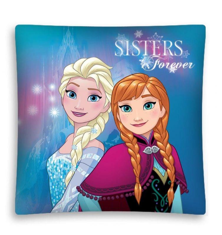 Dívčí povlak na poštář Elsa a Anna / Frozen Sisters Forever 40 x 40 cm