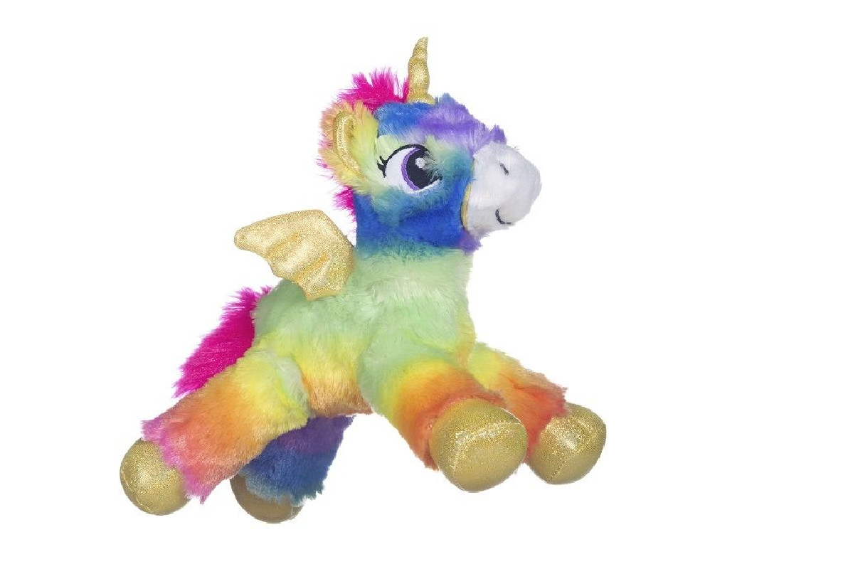 Plyšový duhový Jednorožec / Unicorn s křídly 33 cm