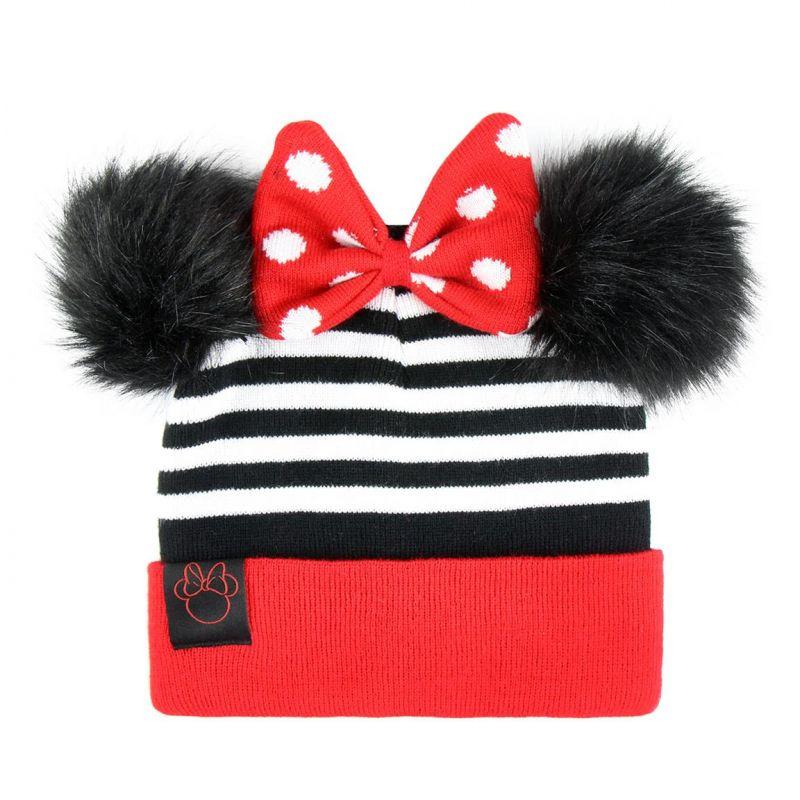 Podzimní / zimní čepice pro holky s chlupatými oušky a mašličkou Minnie Mouse
