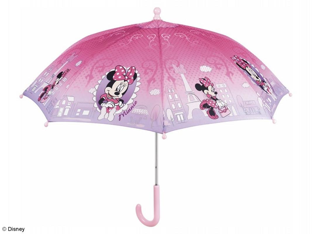 Dívčí růžový manuální deštník Myška Minnie / Minnie Mouse Paris