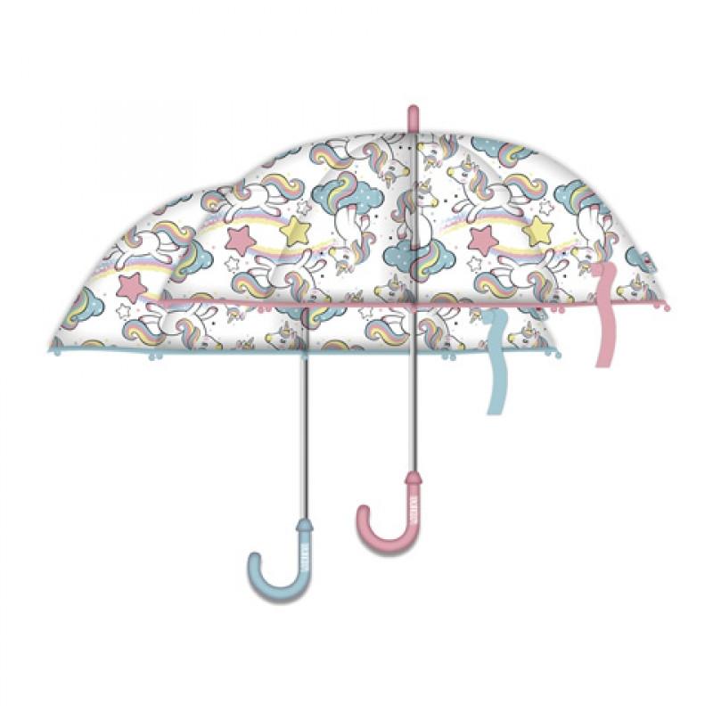 Dívčí průhledný automatický deštník Unicorn / Jednorožec / 58 cm