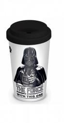 Porcelánový cestovní kelímek se silikonovým víčkem Star Wars / Darth Vader / The Force is Strong / vecizfilmu