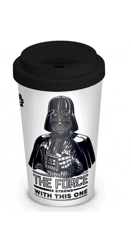 Porcelánový cestovní kelímek se silikonovým víčkem Star Wars / Darth Vader / The Force is Strong