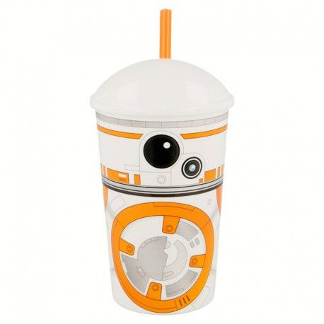 Plastový bílý kelímek s víčkem a brčkem Bb-8 Droid / Star Wars 400 ml