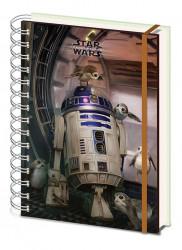 Linkovaný kroužkový A5 deník / zápisník Star Wars / R2-D2 / vecizfilmu